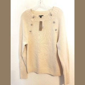 J Crew Natural Crewneck Jeweled Button Sweater Med